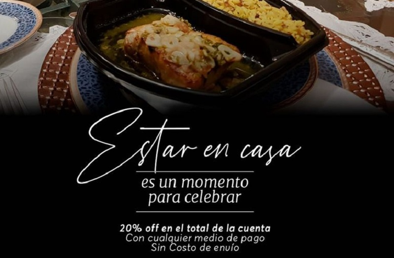 Promoción en las redes sociales de un conocido restaurante. Descuento y envío gratis ante la emergencia del coronavirus.