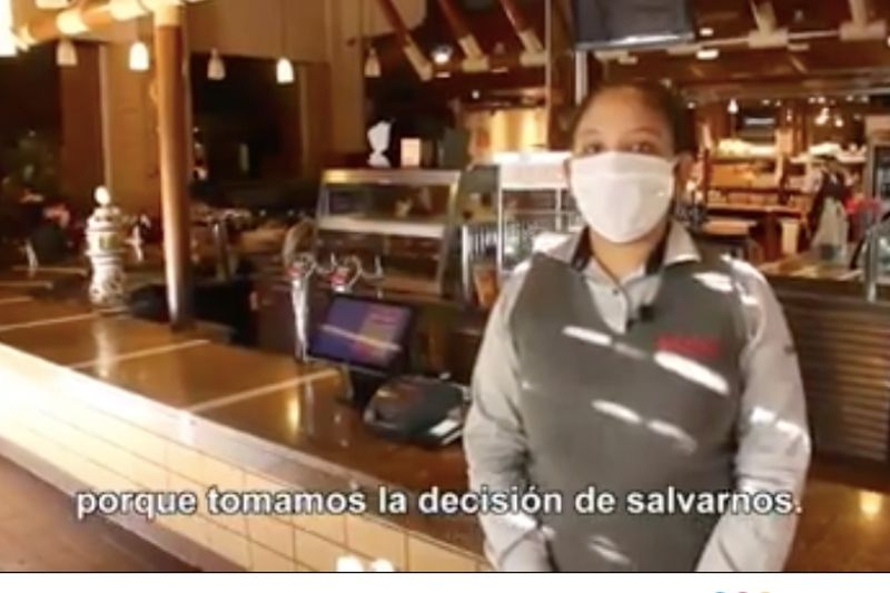 Imagen del video publicado por el Núcleo de Empresarios Gastronómicos donde anuncian que a partir del lunes abrirán sus puertas pese a la prohibición oficial.