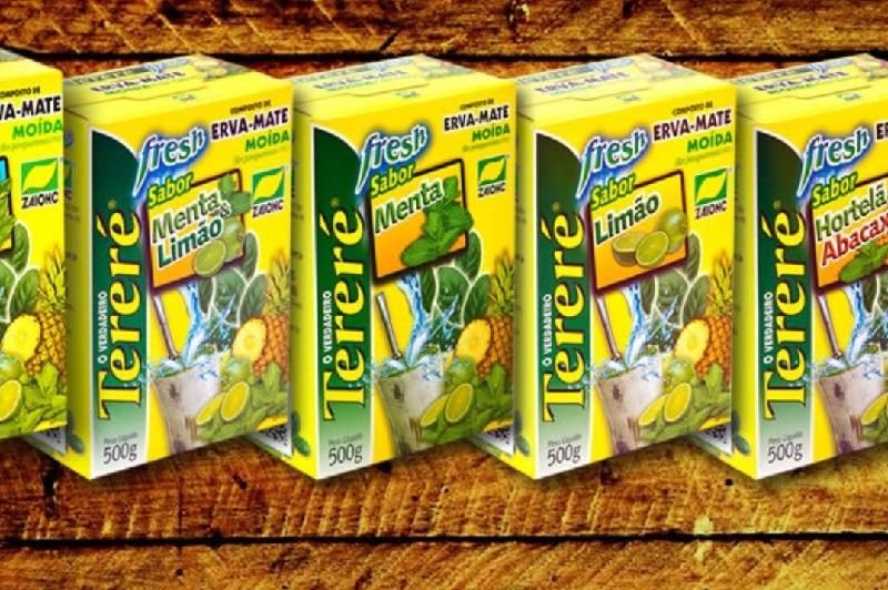 Aquí vemos varias versiones de la marca Tereré de una yerba mate producida en Brasil por la empresa del Grupo Zaionc en el município de Paulo Frontin en el estado de Paraná. La empresa opera desde 1960 y la marca está registrada desde hace 20 años aproximadamente.