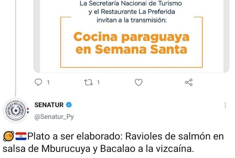 Este fue el mensaje que subió a las redes la SENATUR invitación a participar en la transmisión de un ciclo sobre Cocina paraguaya en Semana Santa. Los platos que irían a ser preparados generaron todo tipo de burlas.