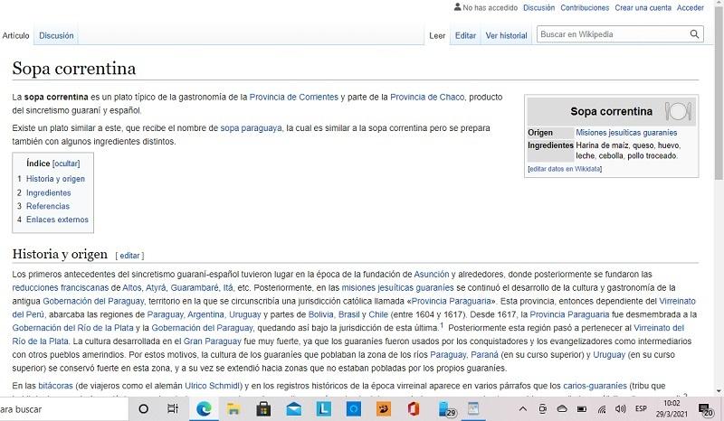 Página de Wikipedia donde se habla de la sopa correntina.