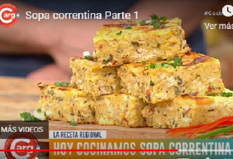 Imagen tomada del programa Cocineros Argentinos, donde mostraron como se elabora la sopa correntina.